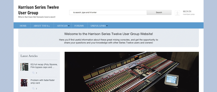 Harrison Series Twelve User Group